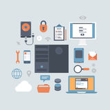Server computing hosting modern flat style equipment icon set vector illustration