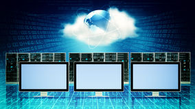 Server Concept. Computer conected to cloud server internet concept. You can place any design you want on the blank screen Stock Images