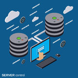 Server control, network security, data protection vector concept Stock Image