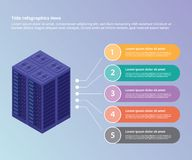 Server data center collection with isometric style 3d infographic template banner website or brochure print for information stock illustration