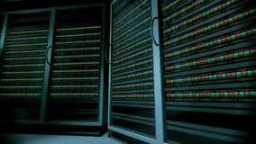 Server data center 4k. A video animation loop of a computer and data processing, server or super-computer location in 4k stock video