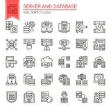 Server and Database. Thin Line and Pixel Perfect Icons Stock Photo