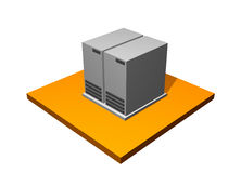 Server Database Storage. 3d Collection Series in Orange Royalty Free Stock Image