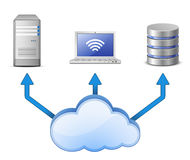 Server, DB and laptop connected to cloud computing Stock Image