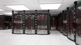 Server della stanza e dello scaffale del server con l'errore di server video d archivio