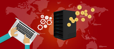 Server di estrazione mineraria della moneta del pezzo Immagine Stock Libera da Diritti