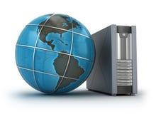 Server e globo, conceito 3D Fotografia de Stock
