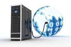 Server e mundo binnary Imagem de Stock Royalty Free