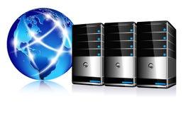 Server e mundo do Internet de uma comunicação Fotografia de Stock Royalty Free