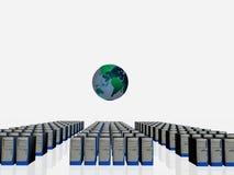 Server farm. Illustration, background of a server farm. Automate, service concept. Copy space, clipping path