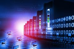 Server farm with computer network. Digital illustration Stock Photo