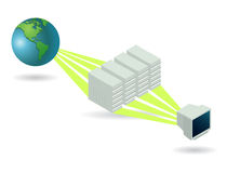 Server farm connecting to world. Illustration with computer connected to servers and to the internet Stock Photos