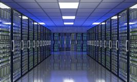Server farm 3d image. 3d rendering of modern datacenter with lots of server stock photos