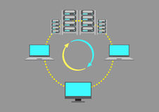 A Server Farm or data center concept. A depiction of a racks of server farm storing data from different devices wirelessly. Vector and jpg royalty free stock photos