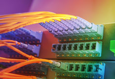 Server with fiber optic cables Royalty Free Stock Photos