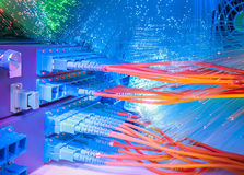 Server with fiber optic cables Stock Photo
