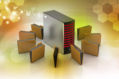Server with file folder Stock Images