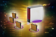 Server with file folder. In color background Royalty Free Stock Photos