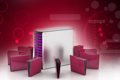 Server with file folder. In color background Royalty Free Stock Photo