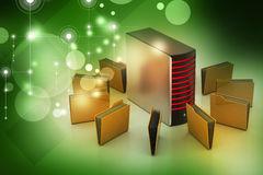 Server with file folder Royalty Free Stock Images
