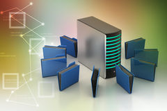 Server with file folder. In color background Stock Photography