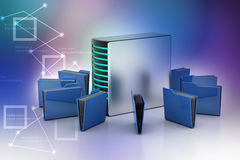 Server with file folder Stock Photography