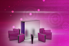 Server with file folder. In color background Stock Photos