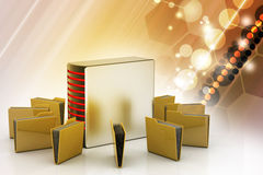 Server with file folder. In color background Stock Image