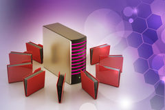 Server with file folder. In color background Stock Photo