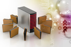 Server with file folder. In color background Stock Images
