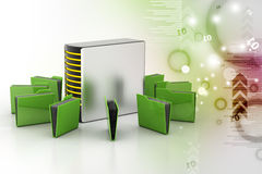 Server with file folder. In color background Royalty Free Stock Photography