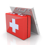 Server first aid. 3D rendered Illustration. Server first aid Royalty Free Stock Photography