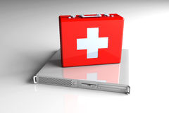Server first aid. 3D rendered Illustration. Server first aid Stock Photos