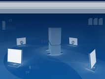 Server and four monitors background. 3D render and Photoshop work stock illustration