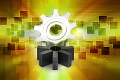 Server with gear cog Royalty Free Stock Photos