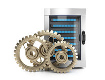 Server and gears Royalty Free Stock Photo