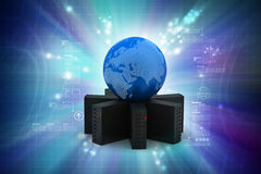 Server with globe Stock Photography