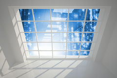 Server hallway seen through window Royalty Free Stock Photo