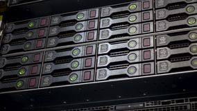 Server hard disk rack. Data server full of working hard drives with green indicators. stock footage