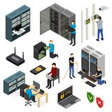 Server Hardware Signs Icons Set Isometric View. Vector. Server Hardware Signs Icons Set Isometric View Isolated on White Background. Vector illustration of Icon vector illustration