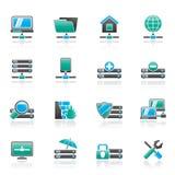 Server, het ontvangen en Internet-pictogrammen Stock Afbeeldingen