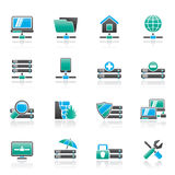 Server, hosting and internet icons Stock Images