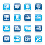 Server, hosting and internet icons. Vector icon set Stock Image
