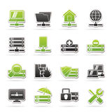 Server, hosting and internet icons Royalty Free Stock Photo