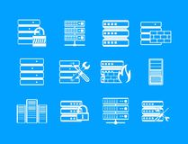Server icon blue set vector. Server icon set. Simple set of server vector icons for web design isolated on blue background Stock Photos