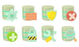 Server icon set, cartoon style. Server icon set. Cartoon set of server vector icons for web design isolated on white background stock illustration