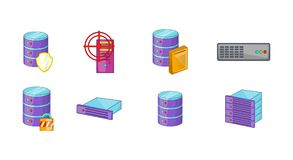 Server icon set, cartoon style. Server icon set. Cartoon set of server vector icons for web design isolated on white background Stock Image