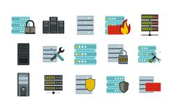 Server icon set, flat style. Server icon set. Flat set of server vector icons for web design isolated on white background Vector Illustration