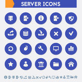 Server icon set. Material circle buttons Royalty Free Stock Photos