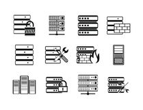 Server icon set, simple style Stock Photography